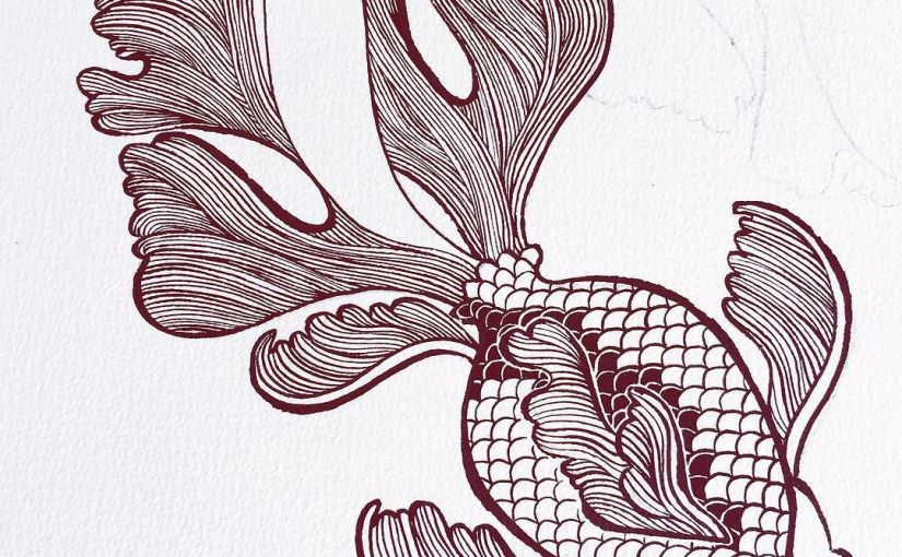 inky goldfish in progress