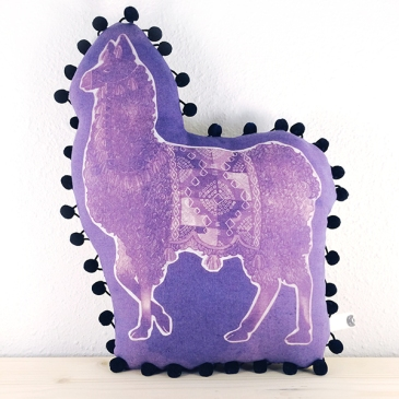 Purple Llama, inkodye and linen, 2015
