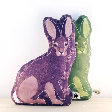 Sashiko Rabbits, inkodye and linen, 2015
