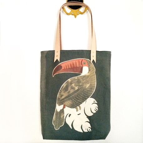 Toucan Tote, inkodye, canvas, and leather, 2016